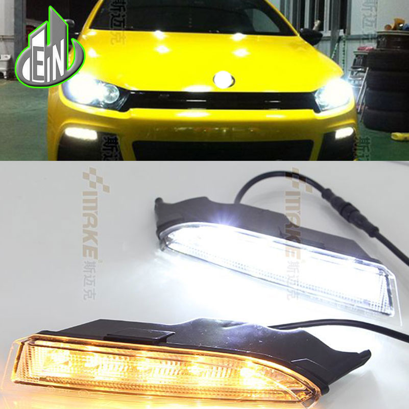 Car Styling LED Daytime Running Light For Volkswagen VW Scirocco R 2008-2014 LED Bumper DRL With Yellow Turn Signal Lamp wljh 2x canbus led 20w 1156 ba15s p21w s25 bulb 4014smd car lamp drl daytime running light for volkswagen vw t5 t6 transporter