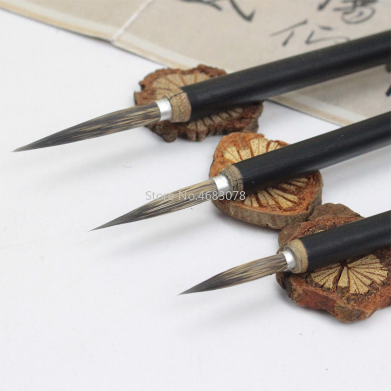 3pcs Black Hook Line Fine Paint Brush Chinese Calligraphy Brush Pen Bamboo Shaft Paint Brush Art Stationary Oil Painting Brush