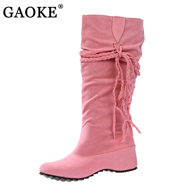 New Women Boots Autumn Winter Fringe Half Knee High Boots Ladies Tassel Fashion Shoes Woman Bota Feminina Plus Size 35-43 fashion autumn and winter style flock leather women fringe flat heels long boots woman keep warm tassel knee high boots