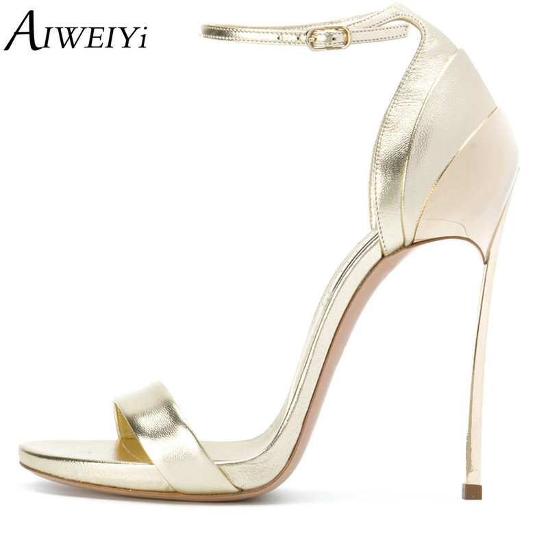 AIWEIYi Woman Summer Shoes Gladiator High-Heeled Sandals 2018 Fashion Stiletto Heels Sandals Gold Silver Sexy Ladies Shoes 2017 summer gold gladiator sandals platform wedges creepers casual buckle shoes woman sexy fashion high heels