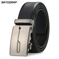 Strap Male Genuine Leather Jeans Belts For Men Luxury Automatic Buckle Cinturones Hombre Formal Geometric Simple