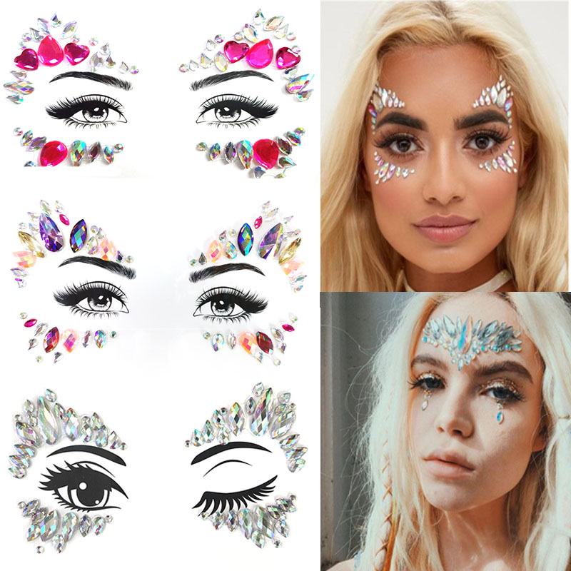 Face Makeup Rhinestones Cat Eyes Shape Designed Acrylic Diamond Adhesive For Eyeshadow Eyebrow Makeup Tattoo Sticker LT005