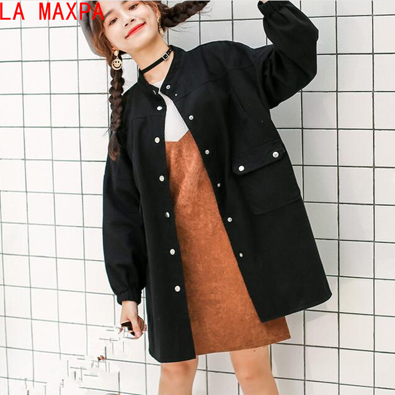 LA MAXPA 2018 New Harajuku Autumn Women's Jacket Loose Solid Color Long Sleeves Denim Clothing Women Bomber Jackets Chaquetas