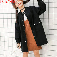 LA MAXPA 2018 New Harajuku Autumn Women's Jacket Loose Solid Color Long Sleeves Denim Clothing Women Bomber Jackets Chaquetas