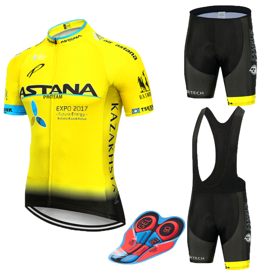 New 2019 BLUE Astana Cycling Team Jersey 12D Bike Shorts Set Quick Dry Mens Bicycle Clothes Team Pro BIKE Maillot Culotte