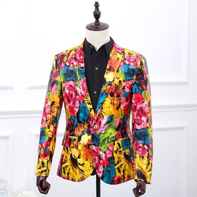 Бесплатная доставка мужская PU цветок печати масло печати стили смокинг/stage performance, this is only куртка