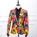 Frete grátis mens PU de impressão a óleo da flor impressão estilos smoking jacket/performance de palco, este é only jaqueta