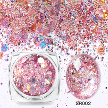 Mtssii 3D Mixed Hexagon 8 Color Nail Dust Sets Holo Glitter Sequins Flakes Manicure Decoration Nail Art Tips