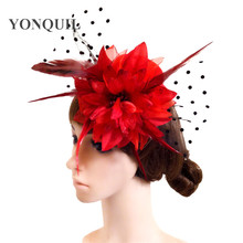 Fascinators lace flower Hats For Women Elegant Wool Felt Pillbox Hat Girls Ladies Formal Wedding Dress Hat hair accessory SYF240