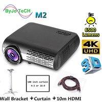 Poner Saund M2 LED projector 6500 Lumens 4K 2K FULL HD 3D Home Theatre Support HDMI USB VGA 100 Inch Screen Tripod Wall Bracket