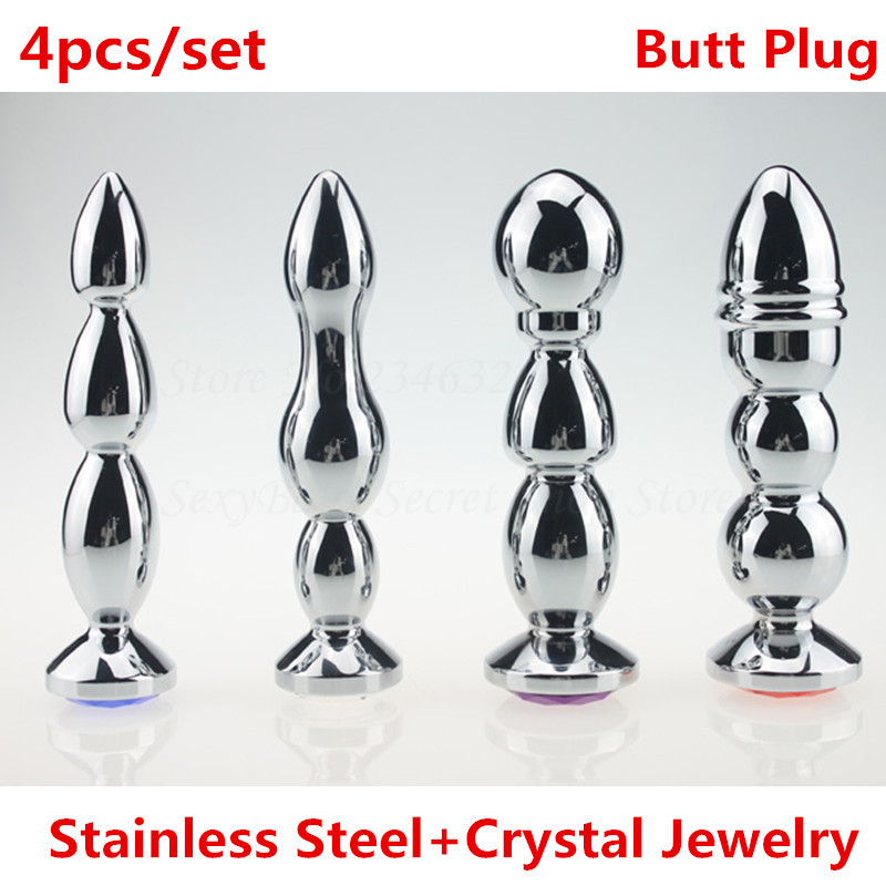 4pcs/set Large Stainless Steel Anal Plug With Crystal Jewelry Sex Toys Metal Anal Masturbation Butt Plug Adult Toy For Women men