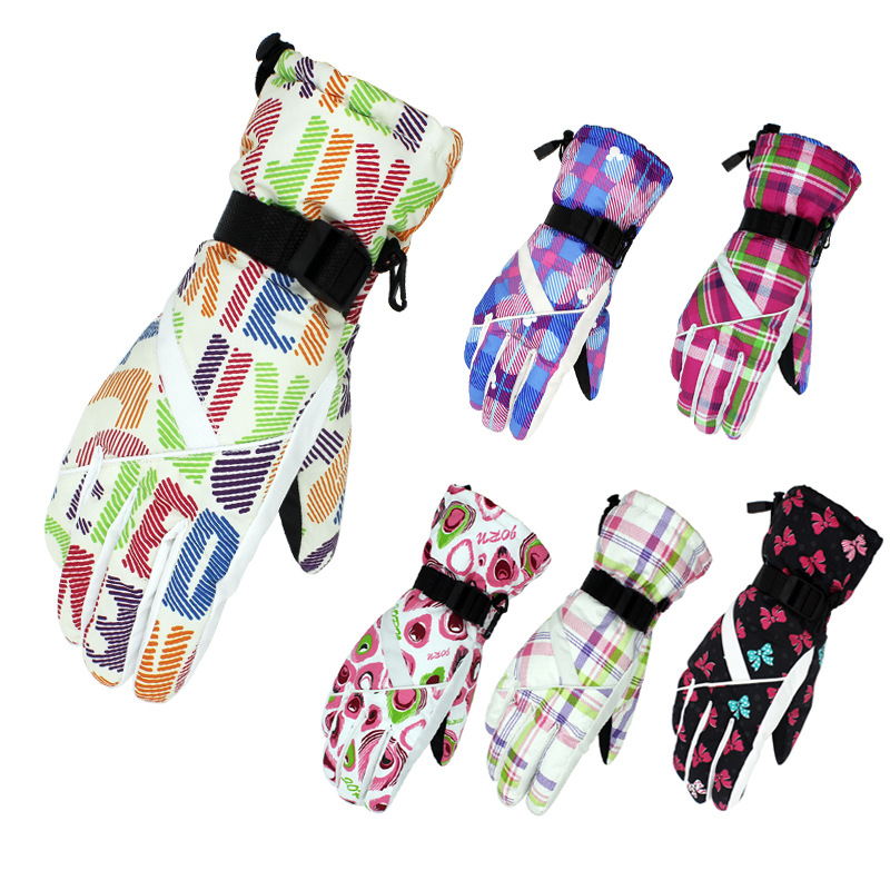 Women Skiing Gloves Thicken Warm Windproof Snow Ski Gloves Snowboard Cycling Motorcycle Snowmobile Winter Outdoor Sport Gloves