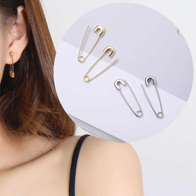 European and American Gold & Silver Color Cooper Hip Hop Satety Pin Stud Earrings for Women and Men Punk Charm Jewelry