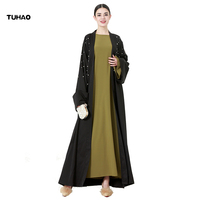 TUHAO Pearl Dress Middle East Maxi Long Dresses Woman Autumn Loose Oversizes 4XL 5XL Solid Color