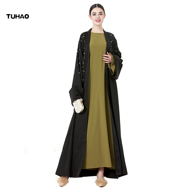 TUHAO Pearl Dress Middle East Maxi Long Dresses Woman Autumn Loose Oversizes 4XL 5XL Solid Color High Quality Femme Clothes CM33