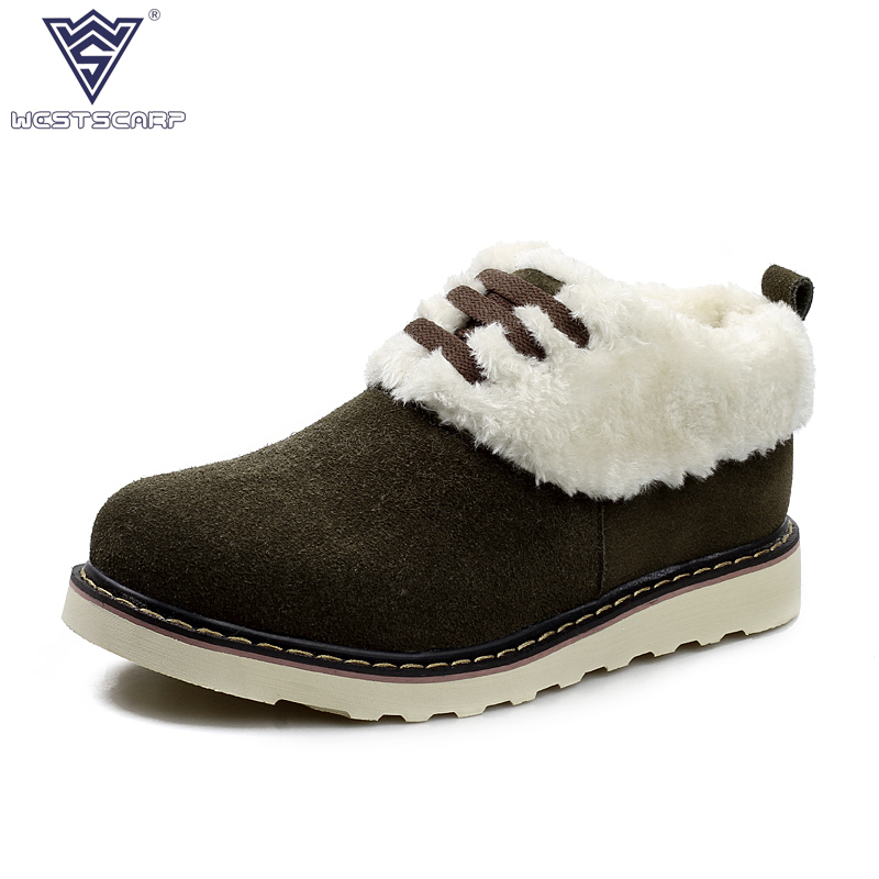 bb9b31ae1de ESCARPA OESTE Inverno Homens Sapatos De Couro De Barco Sapatos Da Moda Lace  Up Warm Plush Sapato Masculino