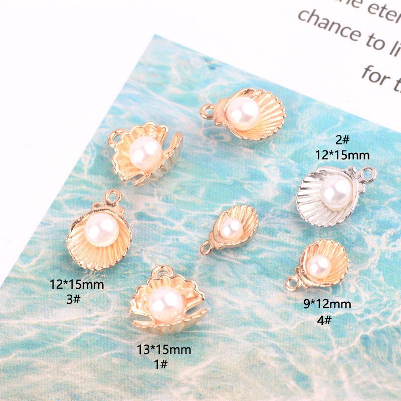 10pcs Pearl Shell Alloy Charms Pendants Gold Silver Colors Nautical Finding Charms DIY Earrings Bracelet Jewelry Accessory YZ049 in Charms from Jewelry Accessories