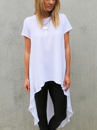High low hem short sleeve loose chiffon t shirt dress 2 for Short sleeve white dress shirt