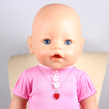 Doll Accessories Lovely Enamel Red Heart Charm Necklaces Pendant Fit 43cm Doll Baby Born zapf Children