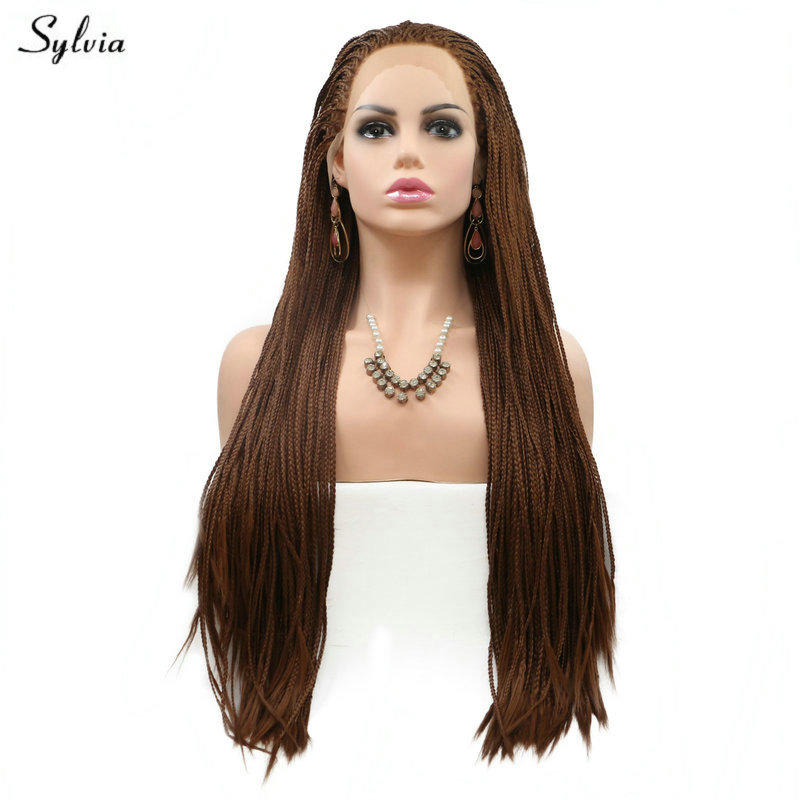 Sylvia Braided Box Braids Wig Long Hair Natural Hairline Brown Synthetic Lace Front Wigs for Women Festival Holidays Drag Queen