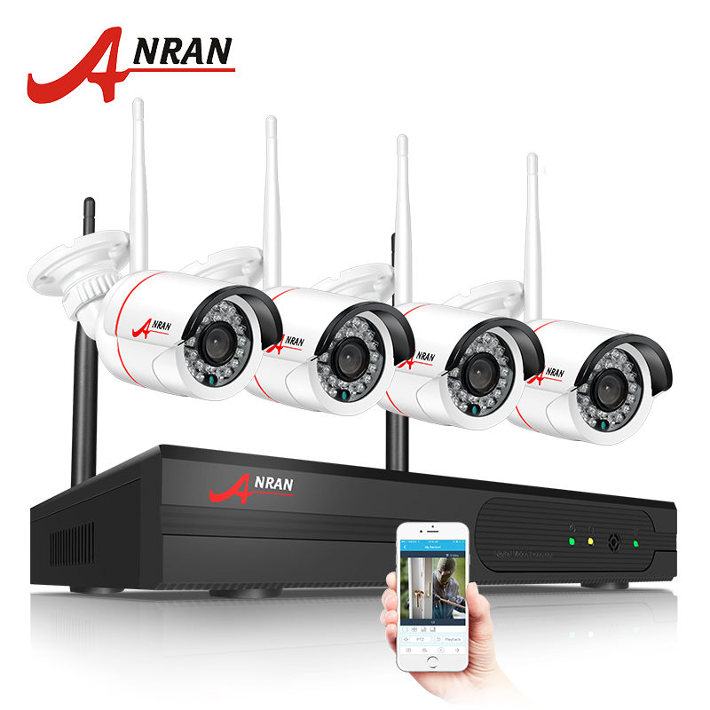 ANRAN New Listing Plug and Play Wireless NVR Kit P2P 720P HD Outdoor IR Night Vision Security IP Camera WIFI CCTV System  anran plug and play 4ch security camera system wireless nvr kit p2p 720p hd outdoor ir night vision cctv ip camera system