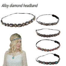 New Vintage Bohemian Ethnic Beads Handmade Headband Party Rhinestone Elastic Hair Band Hot Accessory For Woman
