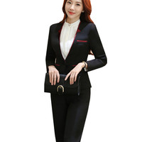 Suit Women Pantsuit Patchwork Double Collar Slim Polyester Women S Business Suits Two Piece Sets Autumn