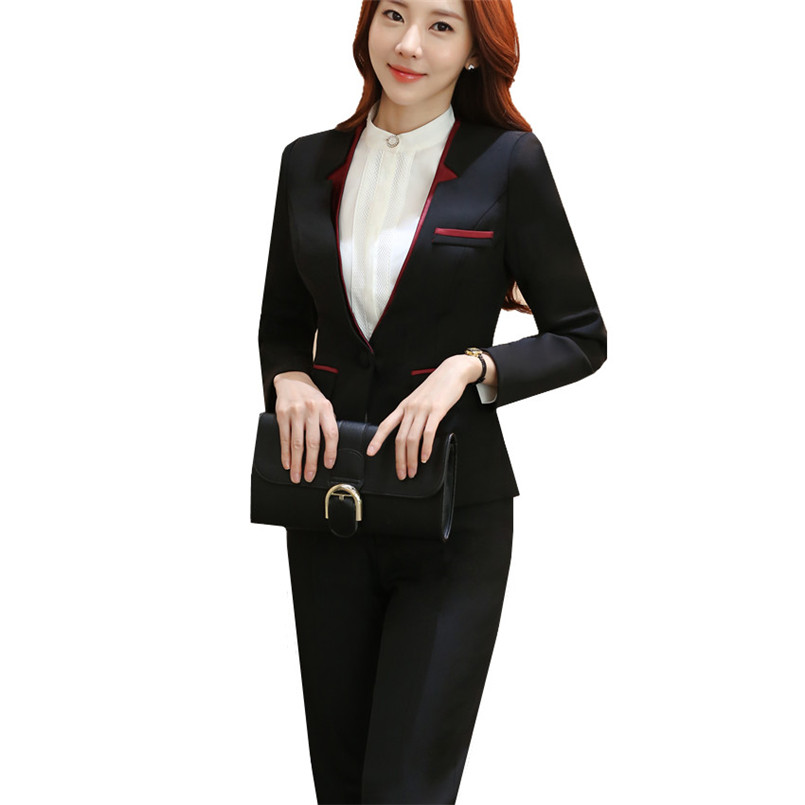 Suit Women Pantsuit Patchwork Double Collar Slim Polyester Womens Business Suits Two-piece Sets Autumn Spring Winter Clothing