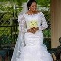 Плюс Размер Халат Де Mariage Пышными рукавами Кружева Аппликации Длинные Свадебные Платья 2017 Элегантный Русалка Свадебное Платье Платья Vestido Noiva