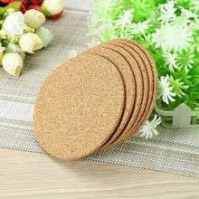 6pcs Cork Coaster Tablecloth Round Cup Coffee Cup Hot Tea mat Heat Resistant Personal placemat Decorative Solid Cork Coaster 6pcs lot round cork coaster heat resistant cup table placemats mug mat coffee tea hot drink posavasos placemat kitchen decor