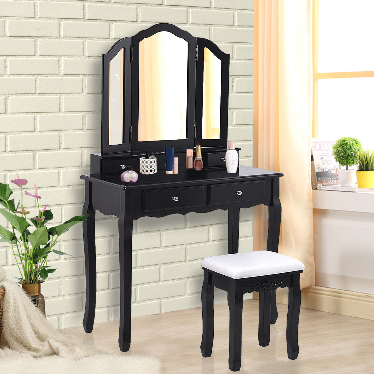 Vanity Makeup Dressing Table Stool Set