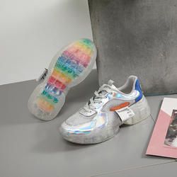 2019 Новый бренд весна тренд женские прозрачные сникерсы Harajuku Женская Платформа прозрачная обувь Лазерная повседневная обувь блестящая