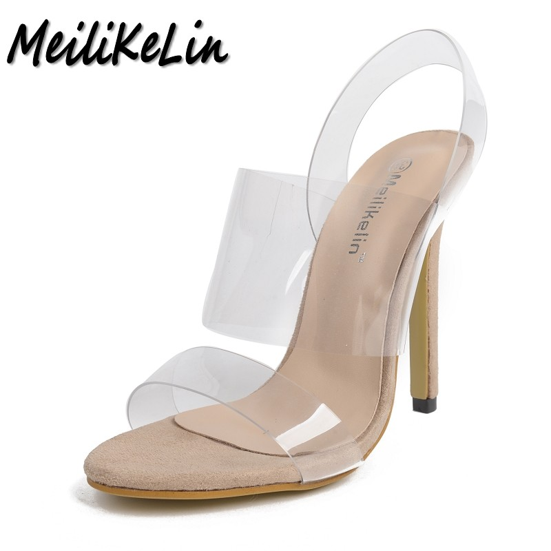 цены  MeiLiKeLin women Fashion Open toe Transparent sandals ladies pumps high heels shoes woman Slip-On party wedding stiletto shoes