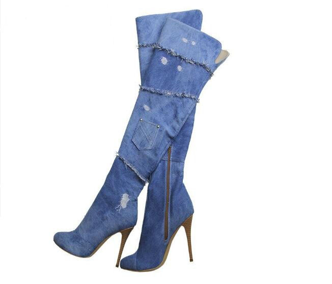 women boots sexy high heel boots round toe super high thin heels over the knee women thigh high boot blue denim jeans shoes boot  new arrival high quality over the knee women boots sexy pointed toe shoes stiletto high heels blue denim jeans women boots