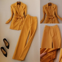 Women Elegant OL Office Work Wear Long Sleeve Blazer Top and High Waist Full Length Trousers One Set