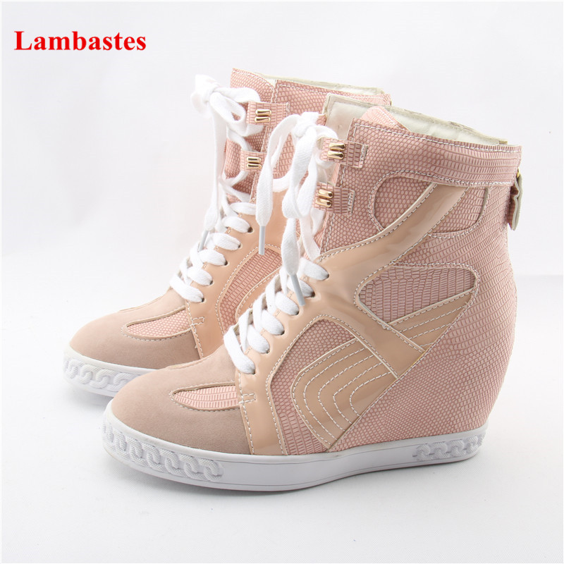Pink Round Toe Cross-Tied Cut Out Feminino Pumps Height Increasing Lace Up Snake Pattern Casual Shoes Spring Autumn Zipper Shoes criss cross cut out lace crop top