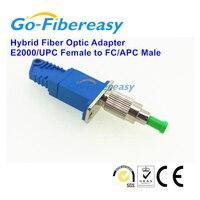 5pcs/lot New E2000/UPC Female to FC/APC Male Hybrid Fiber Optic Adapter Singlemode Simplex