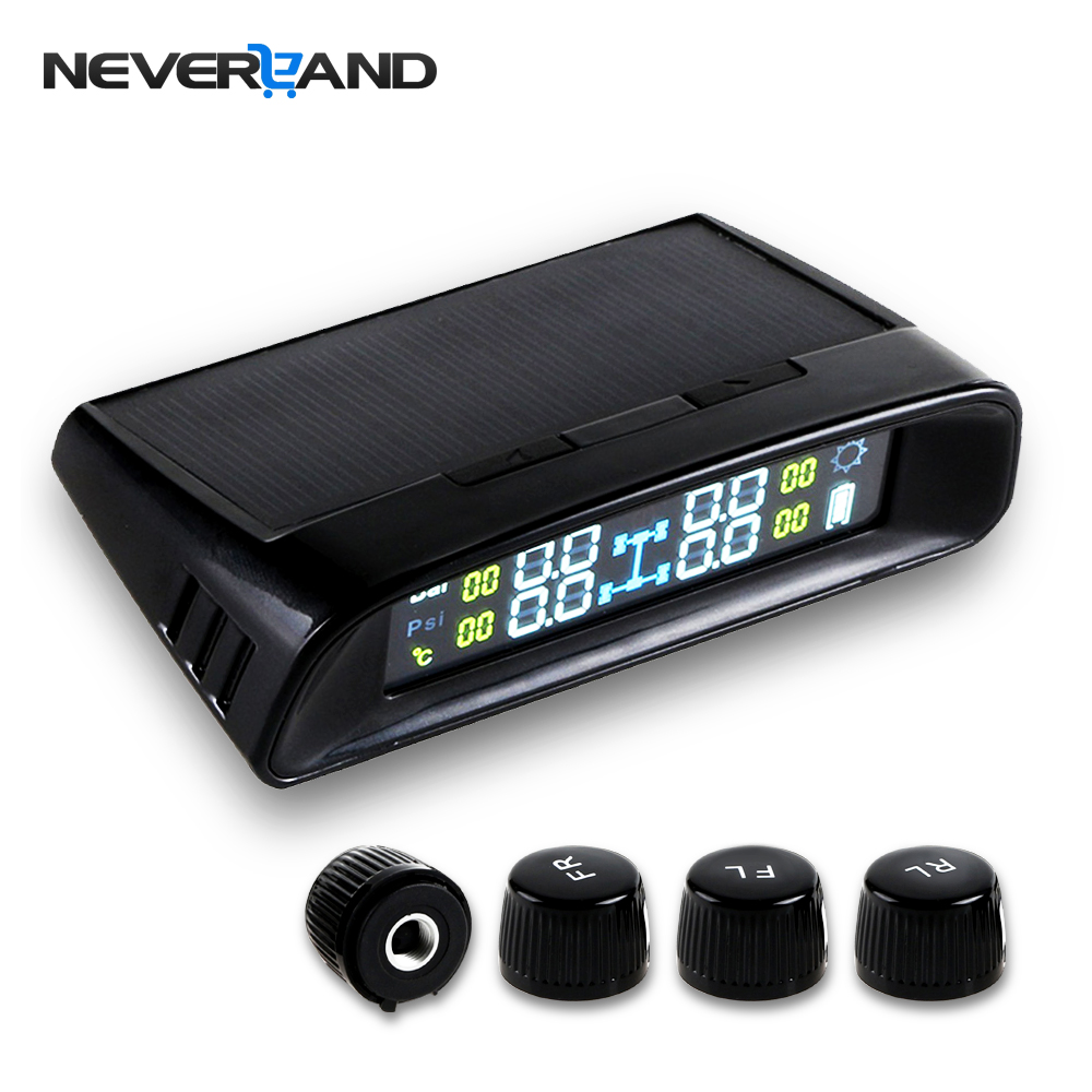 NEVERLAND Solar Power TPMS LCD Display Car Wireless Tire Tyre Pressure Monitoring System 4 External Sensors For Cars tpms lcd display car wireless tire tyre pressure monitoring system 4 internal sensors for cars solar power d10