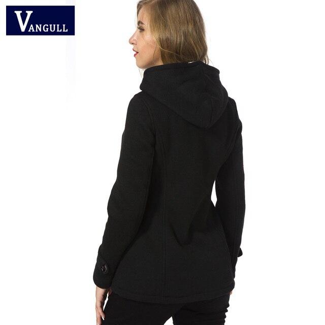 Winter Coat Women 2017 New Fashion Women Wool Blends Slim Hooded Collar Zipper Horn Button Long Coats Outerwear special button