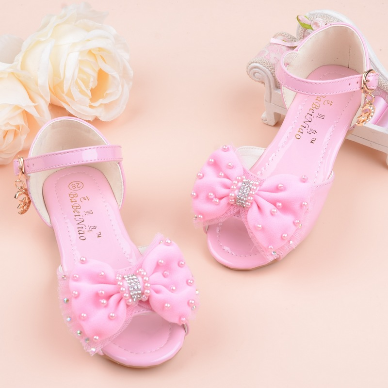 2019 Nwe Fashion Kids Summer Shoes Little Girls Sandals Big Children Princess Bead Bow Sandals 2 3 4 5 6 7 8 9 10 11 12 Year Old