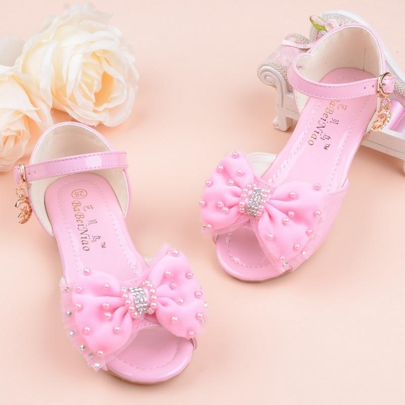 2019 Nwe Fashion Kids Summer Shoes Little Girls Sandals Big Children Princess Bead Bow Sandals 2 3 4 5 6 7 8 9 10 11 12 Year Old