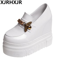 XJRHXJR Women Creepers Autumn Increasing Height Shoes Casual Slip On Moccasins Platform Thick Heel Fashion Slip On Band Footwear