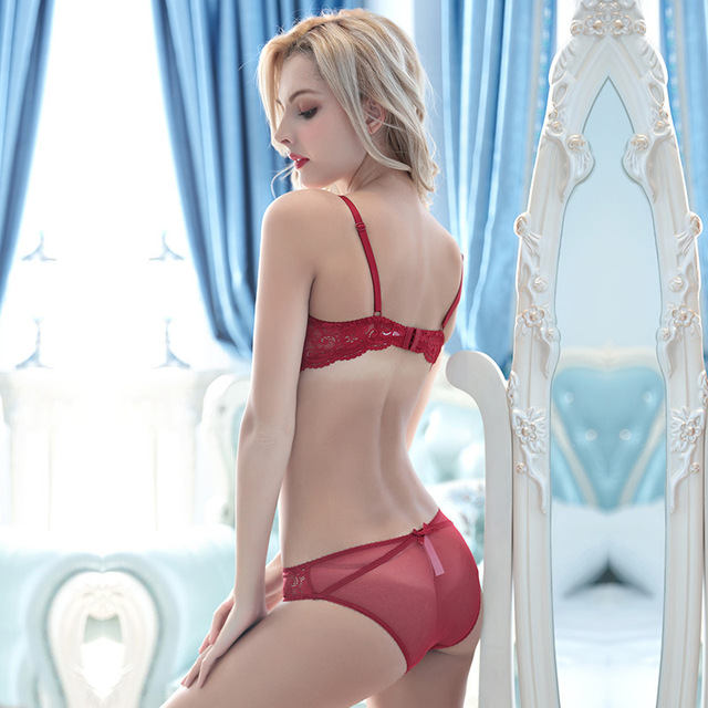 New Style Half Cup Ultra-Thin Lace Bra Briefs Set 4