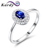 Kardy Fashion 14K White Gold Oval Sapphire Gemstone White Diamond Ladies Anniversary Wedding Band Ring