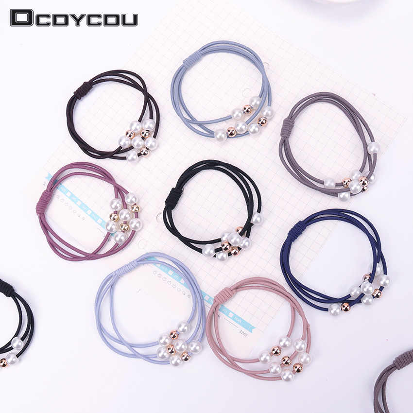 5PCS Pearl Elastic Three Layer Rubber Bands Ring Headwear Girl Elastic Hair Band Ponytail Hair Rope Girl Hair Jewelry