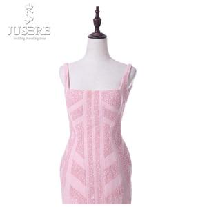 Image 2 - Vestido Casual corto de mujer de corte especial con tiras rosadas cuello cuadrado longitud de té abierto espalda baja cuentas patrón vestidos de graduación 2018