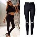 Moda Agujero negro jeans mujer Flaca pantalones vaqueros de cintura alta para las mujeres jeans denim jean pantalones pantalones Rayados mujer femme