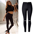 Moda preto calças de brim Do Furo mulher jeans Skinny de cintura alta para as mulheres calças de brim calças Arranhado denim jean pantalones mujer femme