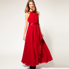2014 Summer Bohemian Women Chiffon Floor-Length Long Dresses Sleeveless Off the Shoulder Dress Vestidos, 6 Color, Free Shipping