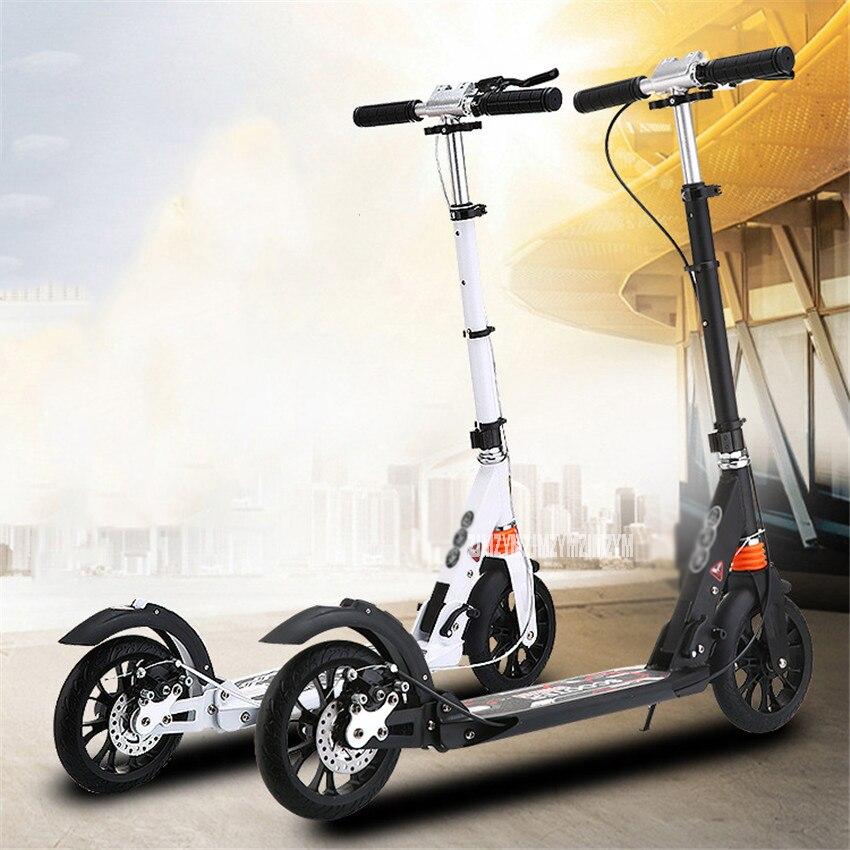 Enfants coup de pied Scooter pliable PU 2 roues frein à main musculation alliage d'aluminium pied urbain Scooter planche à roulettes FJ0088 enfants